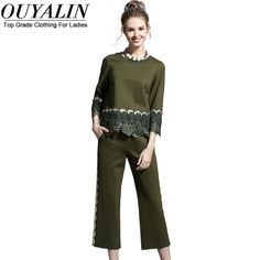 Ouyalin L- 5XL Black/Army Green Women 2 Piece Set Plus Size Fall 2016 New Fashion Brand Designer Tops And Pants Suit Lace Patch