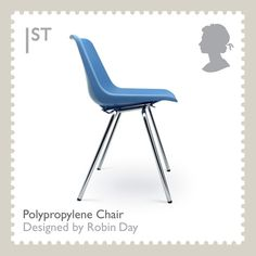 One of 10 stamps issued in 2009 celebrating 20th-century British design classics. This one is Robin Day's Polypropylene chair