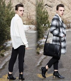 Alexander Wang Button Up, Zara Tartan Coat, Zara Bag, Wilfred Pants, Zara Boots