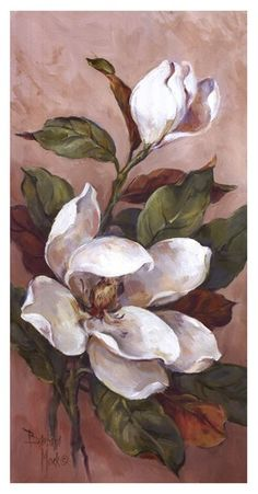 Magnolia Accents ll von Barbara Mock - Malerei Kunst Acrylic Painting Flowers, Watercolor Flowers, Watercolor Paintings, Plant Drawing, Painting & Drawing, Art Paintings, Painting Inspiration, Flower Art, Art Projects