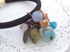 青系と茶系のアースカラー天然石ビーズのナチュラルヘアゴム Creema Handmade Crafts Accessory Beads Hair Elastic Ponytail Holder Natural Stone ハンドメイド アクセサリー エスニック Ethnic Boho