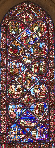 Joseph ( The Patriarch) BourgesCathedral, France -Bay 24 Key Stained Glass Church, Stained Glass Art, Stained Glass Windows, Catholic Churches, Church Windows, Grisaille, Cathedrals, Wrought Iron, Joseph