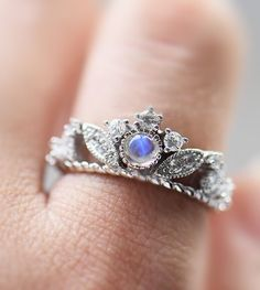 inexpensive 925 siver moonstone art deco crown engagement ring for woman http://www.jewelsin.com/p-affordable-classic-antique-art-deco-sterling-silver-blue-moonstone-his-hers-couples-engagement-rings-1250