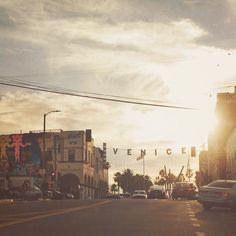 photography, Venice beach sign photograph, California beach, travel, beach photo, Los Angeles, sunset, orange yellow, streetscape, winter