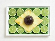 brazil flag made from food/Banana leaf, limes, pineapple, passion fruit