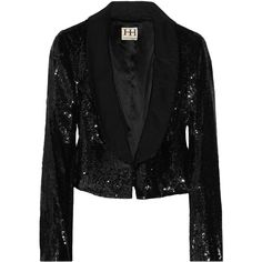 Haute Hippie Sequined silk jacket (39,955 INR) ❤ liked on Polyvore featuring outerwear, jackets, blazers, sequin, black, women, cropped jacket, sequin blazer, haute hippie and silk jacket