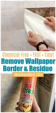 How To Remove Wallpaper Border In A Camper or House FAST! How to remove wallpaper border in camper or house. Naturally remove wallpaper border glue residue DIY method that's FAST via Deep Cleaning Tips, House Cleaning Tips, Cleaning Solutions, Cleaning Hacks, Cleaning Supplies, Remove Wallpaper Borders, Of Wallpaper, Wallpaper Remover, How To Remove Wallpaper