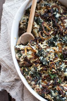 Kale and Wild Rice Casserole recipes recipeoftheday easy eat recipe eat food fashion diy decor dresses drinks Veggie Recipes, Vegetarian Recipes, Cooking Recipes, Healthy Recipes, Wild Rice Recipes, Healthy Vegetarian Casserole, Food Dishes, Side Dishes, Main Dishes