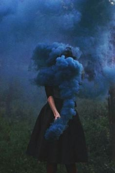 woman girl blue smoke black dress ravenclaw magic witch