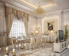 Dining & living room design for a private palace at Doha, Qatar Table Design, Dining Room Design, Classic Interior, Luxury Interior, Dinner Room, Luxury Dining Room, Luxury Living, Palaces, Luxury Homes