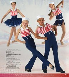 2014 Song: Anchors Aweigh Nautical, Patriotic Dance, Tap, Baton Costume for Competition www.dancecostume.com