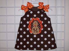 Hair Bow and Chocolate Brown Dot Turkey Applique by thesewprincess, $42.99