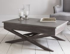 Elegant And Contemporary Coffee Table With A Storm Grey Matte Painted  Finish Top And Dark Natural Limed Wood Base.