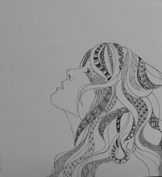 Girl with the Zentangle Hair by CollectaDoodle on Etsy, $15.00