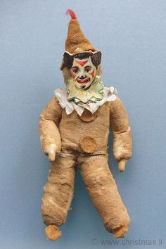 HE OLD CHRISTMAS STATION - Cotton Clown :: Harlequin :: Scrap Face :: old christmas ornament :: Dresden Paper :: antique German Christmas Decorations :: Sebnitz :: Figural Glass :: Belsnickle :: Christmas Rarities