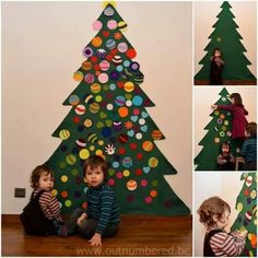 A felt Christmas tree is perfect when you have small kids and few space available. Instructions to make a felt Christmas tree for kids. Homemade Christmas Tree, Christmas Trees For Kids, Noel Christmas, Christmas Activities, Christmas Projects, All Things Christmas, Winter Christmas, Christmas Decorations, Christmas Ornaments