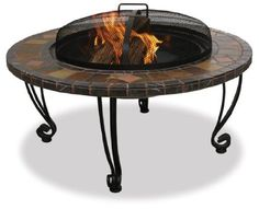 Beautiful-looking outdoor firepit made from slate and marble. Slate & Marble Surround Fire pit with copper Accents. Includes heavy steel grate, easy-lifting spark arrestor, and wrought iron stand. Steel Fire Pit, Wood Burning Fire Pit, Steel Drum, Outdoor Heaters, Patio Heater, Iron Fire Pit, Gazebo, Slate Hearth, Slate Fireplace