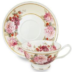 Strawberry & Peony Bone China Teacup (Tea Cup) & Saucer - Bone China Tea Cups and Saucers - Roses And Teacups