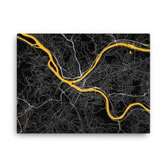 Pittsburgh Steelers Map Canvas