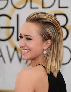 A fresh, modern sleek look on hayden panettiere at Golden Globes 2014: Sleek Hair | ELLE UK