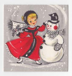 Vintage Greeting Card Christmas SnowmanCute Girl Hallmark 1950s