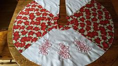 Christmas Tree Skirt Embroidered with Poinsettias Poinsettia, Tree Skirts, Christmas Tree, Embroidery, Holiday Decor, Cotton, Handmade, Fashion, Needlework