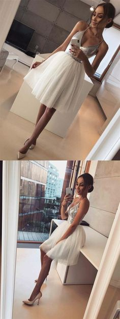 A-line Spaghetti Straps V-neck Sequins Tulle Skirt Homecoming Dresses,Party Dress on Luulla Cheap Homecoming Dresses, A Line Prom Dresses, Graduation Dresses, Evening Dresses, Bridesmaid Dresses, Dress Prom, Party Dresses, Dance Dresses, Girls Dresses