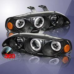 92-95 Honda Civic 2/3DR CCFL Halo Projector Headlights - Pair (Black)