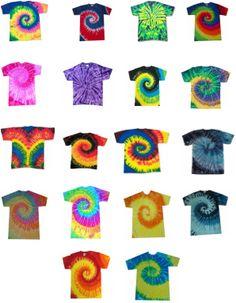 Tye Dye T-Shirts. I love tye dye shirts
