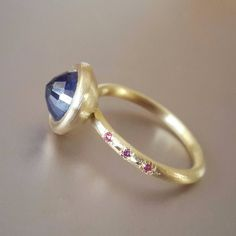 18k gold Sapphire and purple Diamonds ring by Gili Forshmit www.ornamento.co.il