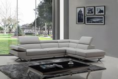 Divani Casa Quebec Modern Light Grey Eco-Leather Sectional Sofa | Modern…