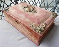 Antique Big 1900 Art Nouveau Jewelry Box Mirror Red Velvet Tools | eBay