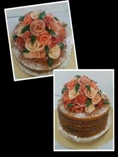 Naked cake bolo de cenoura  Flores de doce de leite em pó