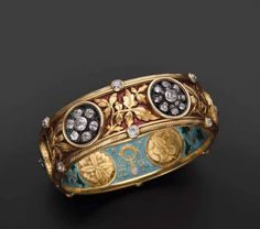 Enamel and Diamond Bangle Bracelet by Bapst and Falize c. 1887