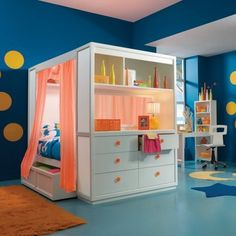Amazing Bedding Furniture Sets with White Storage in Modern Kids Bedroom Paint Decorating Design Ideas