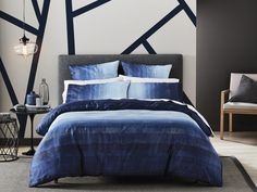 Naturally stylish in any setting, the Oberon Indigo quilt cover offers understated colour and pattern. This detailed, textural design is printed on cotton sateen, adding vibrancy and depth to the rich colour palette and ombre effect. Bedroom Furniture Sets, Bedroom Sets, Home Bedroom, Bedroom Decor, Bedding Decor, Bedrooms, Baby Boy Bedding Sets, Crib Sets, Grey Bedding
