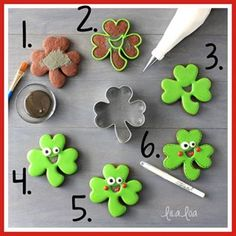 How to make happy shamrock decorated sugar cookies for St. Patrick's Day - a cookie decorating tutorial! Royal Icing Recipe With Egg Whites, Royal Icing Cookies Recipe, Cookie Icing, Baking Cookies, Cookie Cutters, St Patrick's Day Cookies, Easter Cookies, Holiday Cookies, Owl Cookies