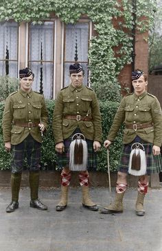 Three Seaforth Highlanders, Bedford, England 1915. (Hand coloured by Chris Foster)
