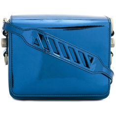 Off-White Blue Binder Clip Mirror Bag ($1,025) ❤ liked on Polyvore featuring bags, handbags, shoulder bags, blue, blue and white purse, embellished handbags, blue and white handbag, embellished purse and mirror handbags
