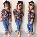 TZ313, Moda Roupa dos miúdos Conjuntos Para O Verão Primavera roupas meninas do bebê Flor Moda crianças Roupas 2 pcs T-shirt + calças de brim Definir