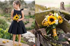 Black flower girl dress and sunflower bouquets. So cute.