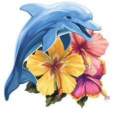 Hibiscus Dolphin Tattoo - You are in the right place about Hibiscus Dolphin Tattoo Tattoo Design And Style Galleries On The N - Dolphin Drawing, Dolphin Painting, Dolphin Art, Animal Sketches, Art Sketches, Art Drawings, Tiger Tattoo Images, Dolphin Photos, Dolphins Tattoo