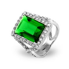 Make them all green with envy with this gorgeous green emerald cut CZ cocktail ring.
