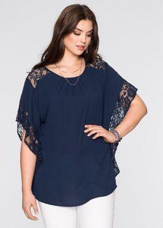 Блузка с кружевными деталями, BODYFLIRT, темно-синий