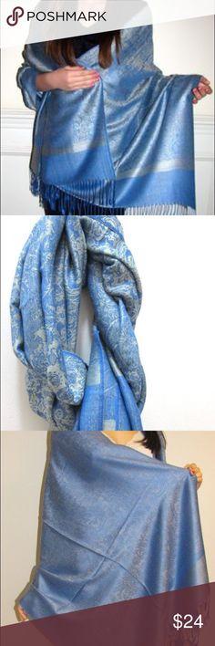 Blue pashmina wool scarf wrap. Blue pashmina wrap scarf Accessories Scarves & Wraps