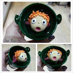 Dee Raa Arts Ponyo ponyo polymer clay fimo sculpey resin in a bucket cute kawaii studio ghibli totoro