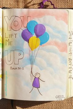 Psalm 30:1, October 10, 2015 Tip-in page carol@belleauway.com, gel crayon, die cuts. This was the page I taught at the trial run starting a Bible Journaling Group. bible art journaling, journaling bible, illustrated faith