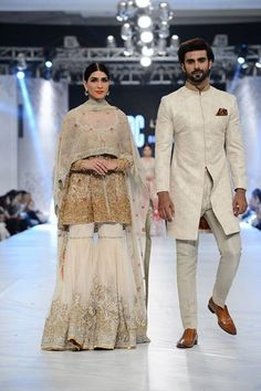 "HSY HSY stole our hearts with his breathtaking collection ""The Kingdom""- divided into four parts titled 'Kalajar', 'Mahkar', ""khat-e-sahil' and ̵… Pakistani Gharara, Pakistani Dresses, Nikkah Dress, Pakistani Wedding Outfits, Indian Outfits, Wedding Attire, Indian Groom Wear, Couple Outfits, Nice Outfits"