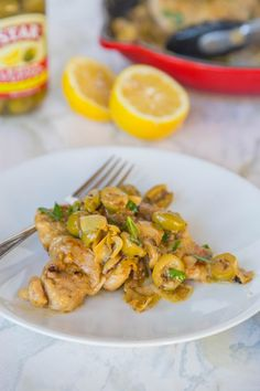 Lemon Chicken Skillet with Artichokes & Olives #CaraMia
