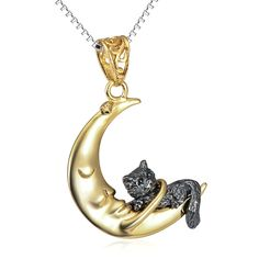 YFN Sterling Silver Three Tone Inspirational Animal Cat on Moon Crescent Pendant Necklace 18'' >>> Trust me, this is great! Click the image. : Jewelry Necklaces